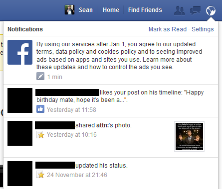 Facebook Terms Update Status