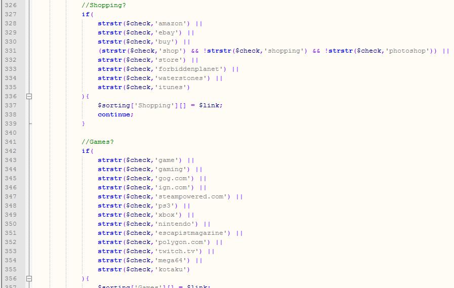 Bookmark Sorter Code Snippet